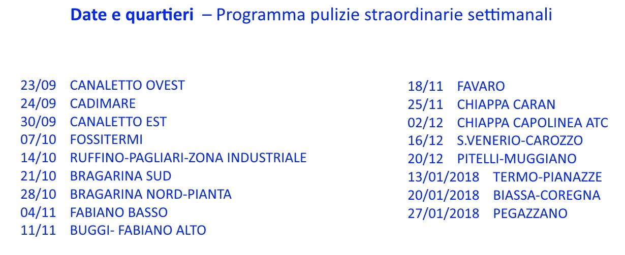 Calendario Pulizie.Calendario Pulizia Straordinaria Dei Quartieri 23 Settembre